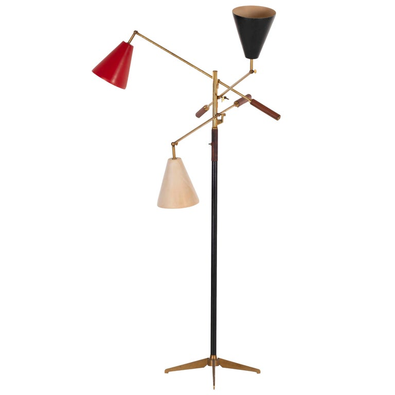 Angelo Lelii Early Three-Arm Triennale Floor Lamp For Sale