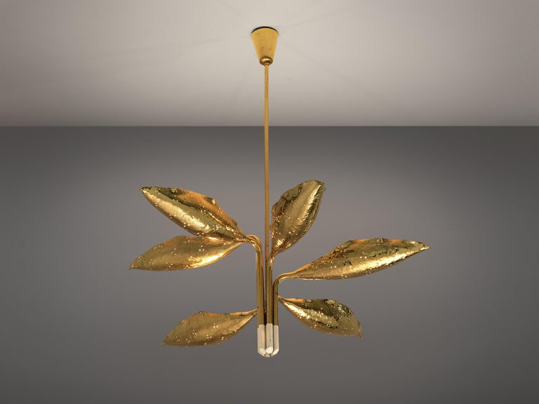 Angelo Lelii for Arredoluce, chandelier model 12369, brass, Italy, circa 1951  Organic chandelier by Angelo Lelii designed for Arredoluce. Six leaves open towards the ceiling and surround the lightbulbs. The hammered, perforated brass has a vivid