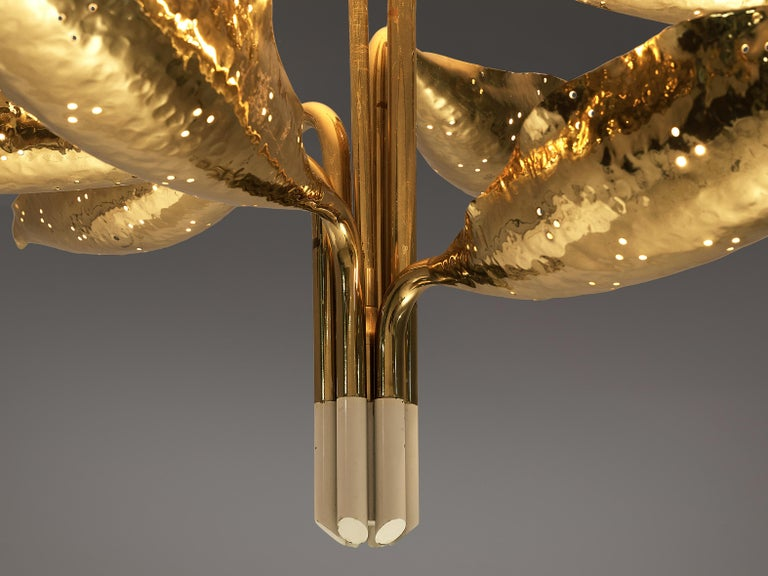Mid-Century Modern Angelo Lelii for Arredoluce Chandelier Model '12369' in Hammered Brass