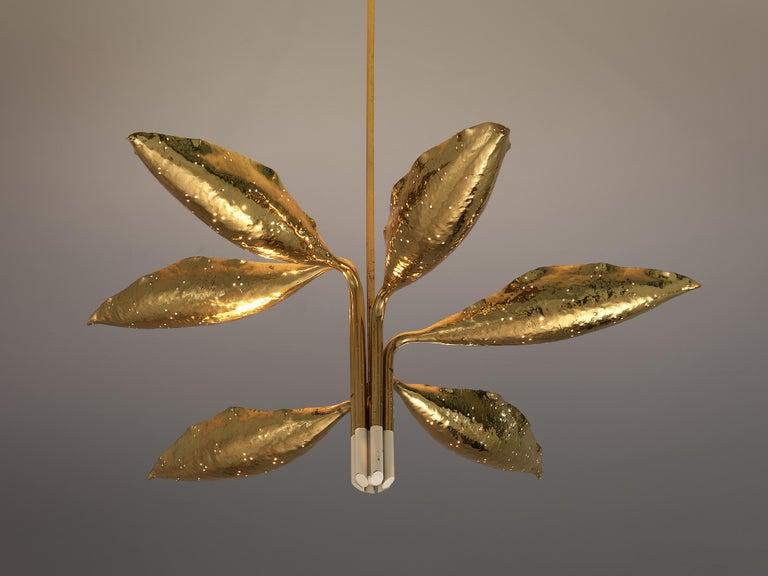 Italian Angelo Lelii for Arredoluce Chandelier Model '12369' in Hammered Brass