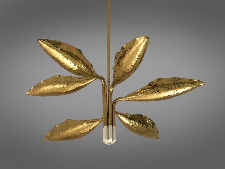 Mid-20th Century Angelo Lelii for Arredoluce Chandelier Model '12369' in Hammered Brass