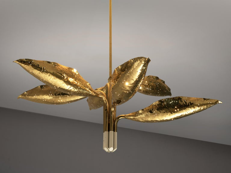 Angelo Lelii for Arredoluce Chandelier Model '12369' in Hammered Brass 2