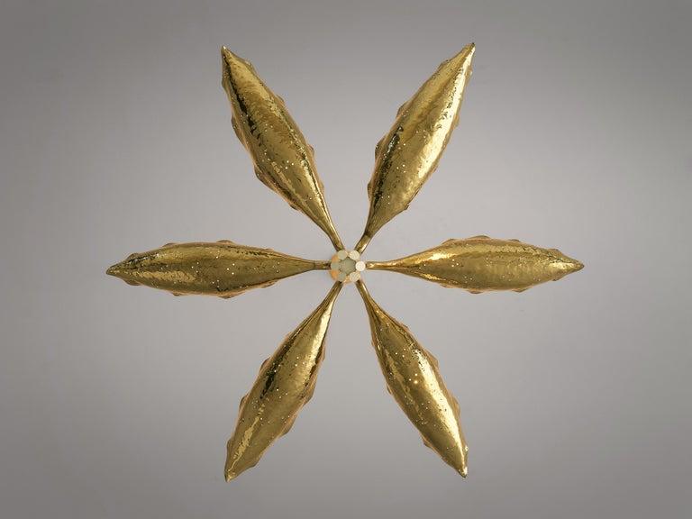 Angelo Lelii for Arredoluce Chandelier Model '12369' in Hammered Brass 3