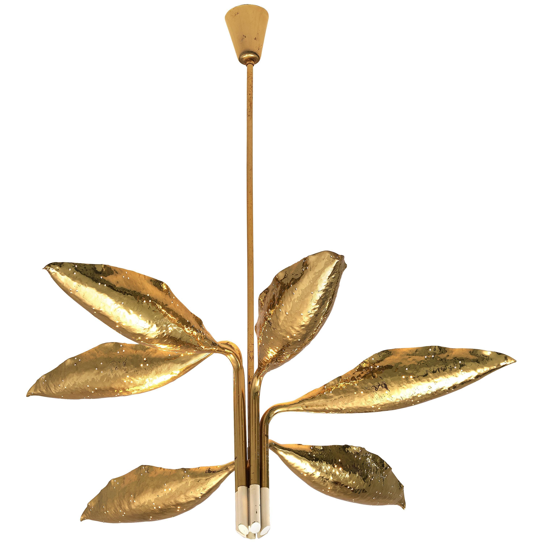 Angelo Lelii for Arredoluce Chandelier Model '12369' in Hammered Brass