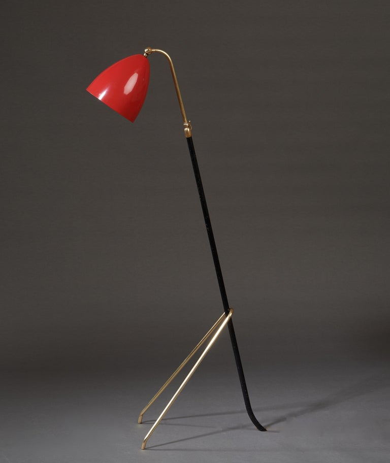 Angelo Lelii for Arredoluce Extendable Height Floor Lamp in Brass, Red Lacquer For Sale 4