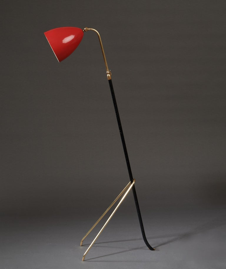 Angelo Lelii for Arredoluce Extendable Height Floor Lamp in Brass, Red Lacquer For Sale 5