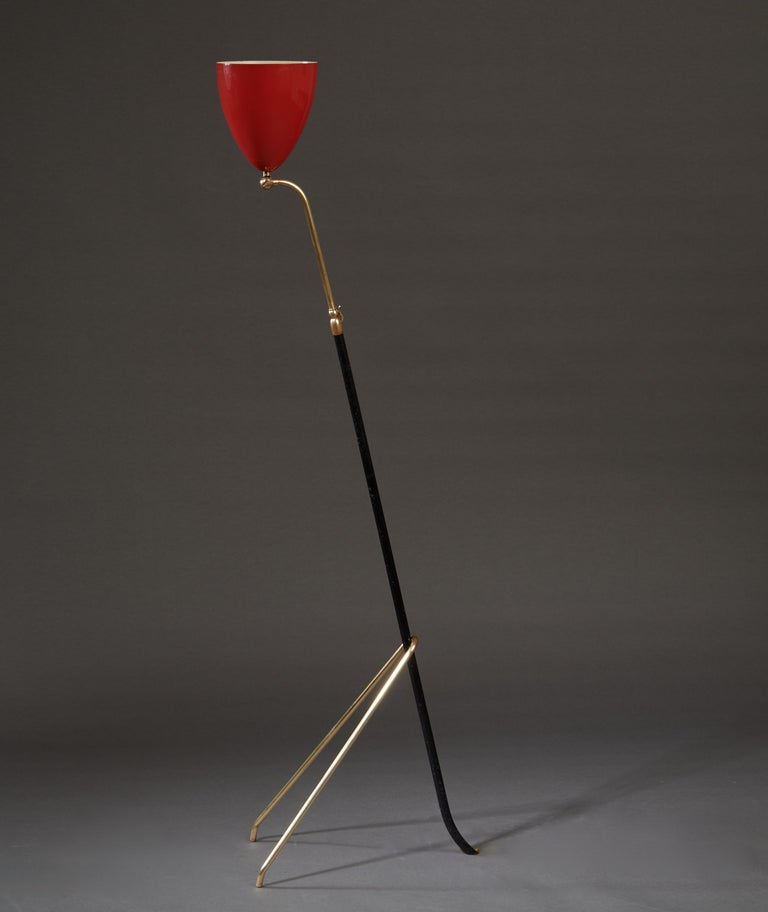 Angelo Lelii for Arredoluce Extendable Height Floor Lamp in Brass, Red Lacquer For Sale 6