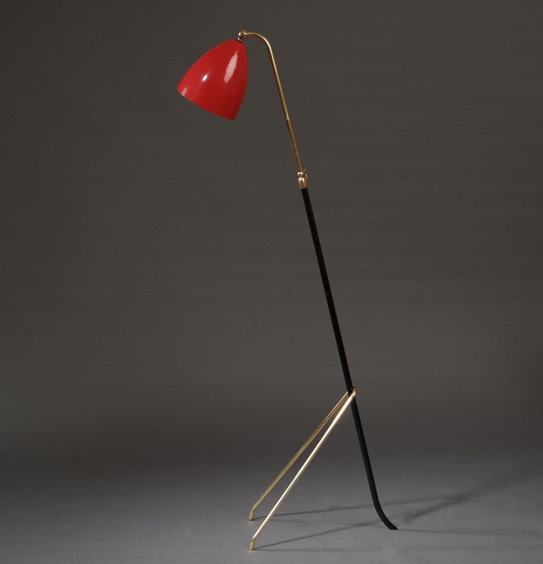 Angelo Lelii for Arredoluce Extendable Height Floor Lamp in Brass, Red Lacquer For Sale 10