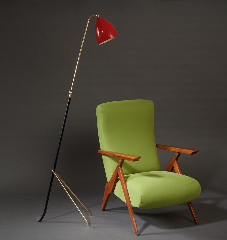 Mid-Century Modern Angelo Lelii for Arredoluce Extendable Height Floor Lamp in Brass, Red Lacquer For Sale