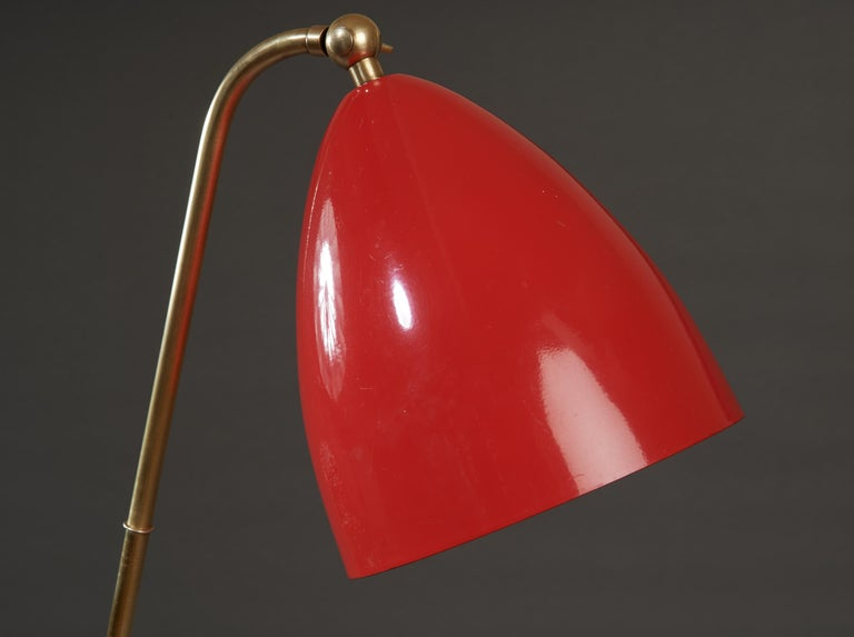Angelo Lelii for Arredoluce Extendable Height Floor Lamp in Brass, Red Lacquer For Sale 8