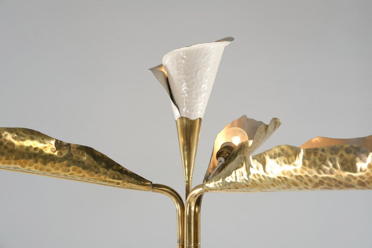 Painted Angelo Lelii for Arredoluce Floor Lamp in Green Marble and Brass, 1960 circa