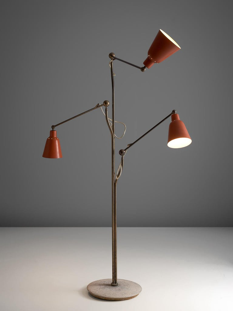 Angelo Lelii for Arredoluce, floor lamp, metal, brass, marble, Italy, 1950s  This iconic floor lamp was designed by Angelo Lelli and manufactured by Arredoluce, Italy in 1950. This lamp was a symbol of the 1950s, due to its fixtures. It was