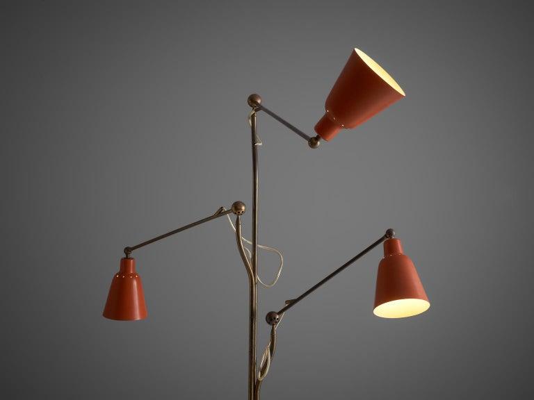 Mid-Century Modern Angelo Lelii for Arredoluce Three Armed Floor Lamp For Sale