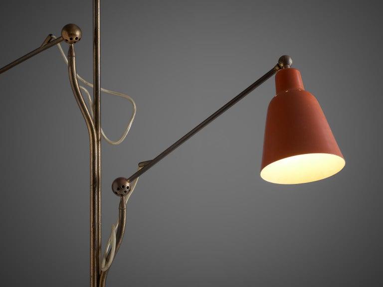 Italian Angelo Lelii for Arredoluce Three Armed Floor Lamp For Sale
