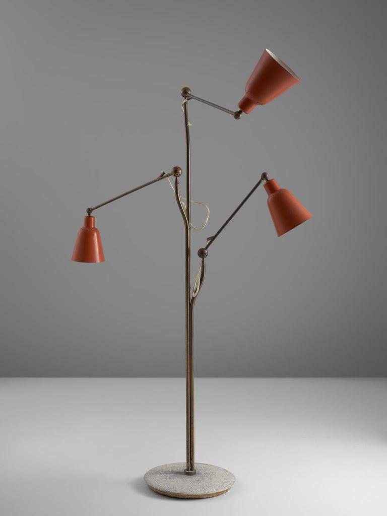 Metal Angelo Lelii for Arredoluce Three Armed Floor Lamp For Sale