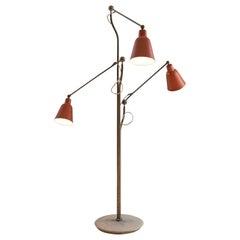 Angelo Lelii for Arredoluce Three-Armed Floor Lamp