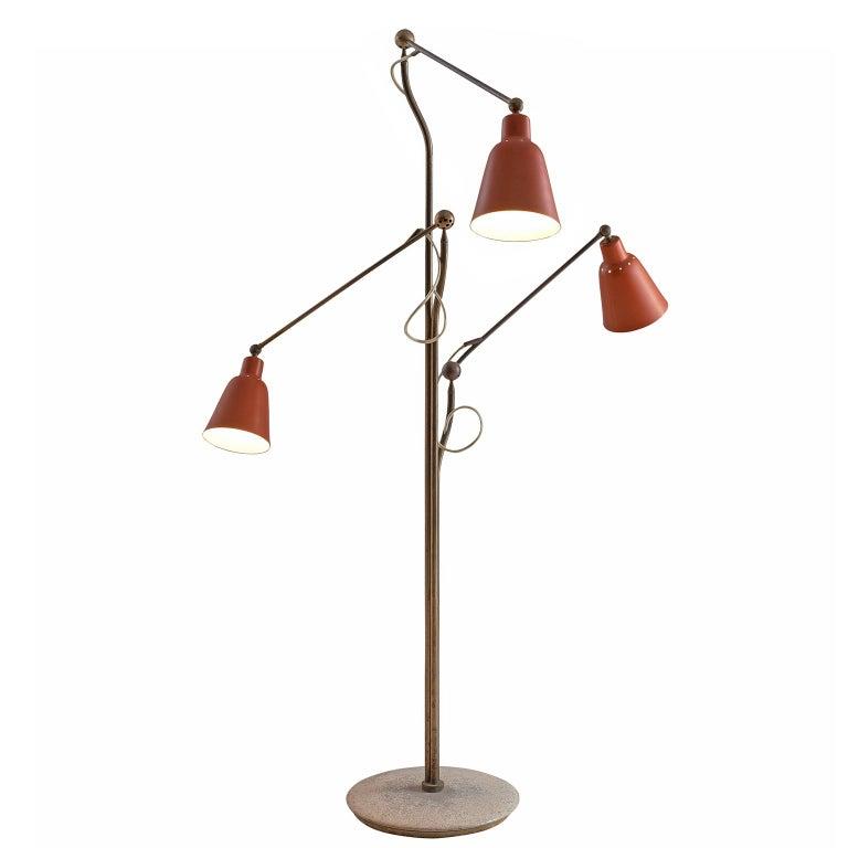 Angelo Lelii for Arredoluce Three Armed Floor Lamp For Sale