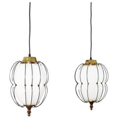 Angelo Lelii for Midcentury Brass and White Opaline Glass Chandelier 1960s Italy