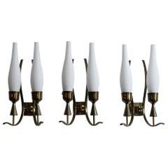 Angelo Lelii Italian Glass Brass Sconces Wall Lamps for Arredoluce, 1950s