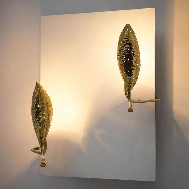 Mid-Century Modern Angelo Lelii 'Leaf' Wall Lamps in Hammered Brass For Sale