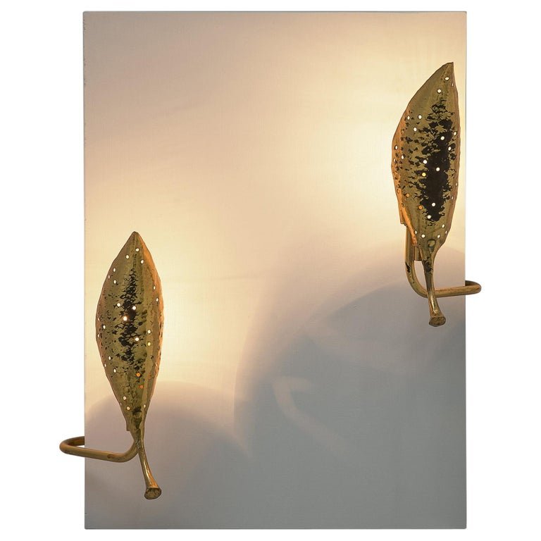 Angelo Lelii 'Leaf' Wall Lamps in Hammered Brass For Sale