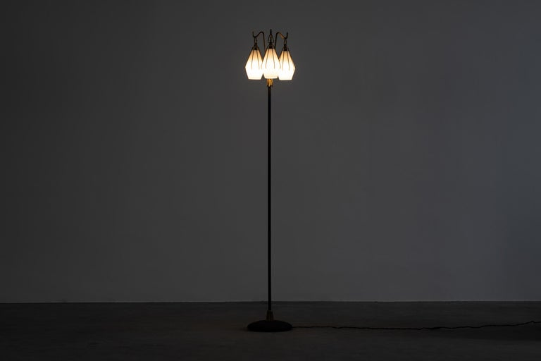 Mid-Century Modern Angelo Lelii Metallic Floor Lamp with Three Glass Elements Arredoluce, 1950 For Sale
