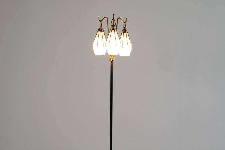 Italian Angelo Lelii Metallic Floor Lamp with Three Glass Elements Arredoluce, 1950 For Sale