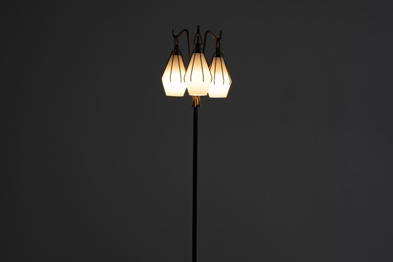 Painted Angelo Lelii Metallic Floor Lamp with Three Glass Elements Arredoluce, 1950 For Sale