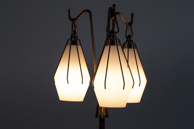 Mid-20th Century Angelo Lelii Metallic Floor Lamp with Three Glass Elements Arredoluce, 1950 For Sale
