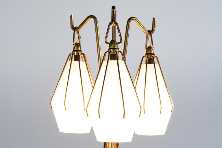 Brass Angelo Lelii Metallic Floor Lamp with Three Glass Elements Arredoluce, 1950 For Sale