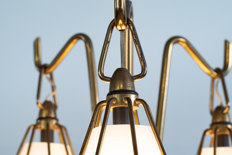 Angelo Lelii Metallic Floor Lamp with Three Glass Elements Arredoluce, 1950 For Sale 1