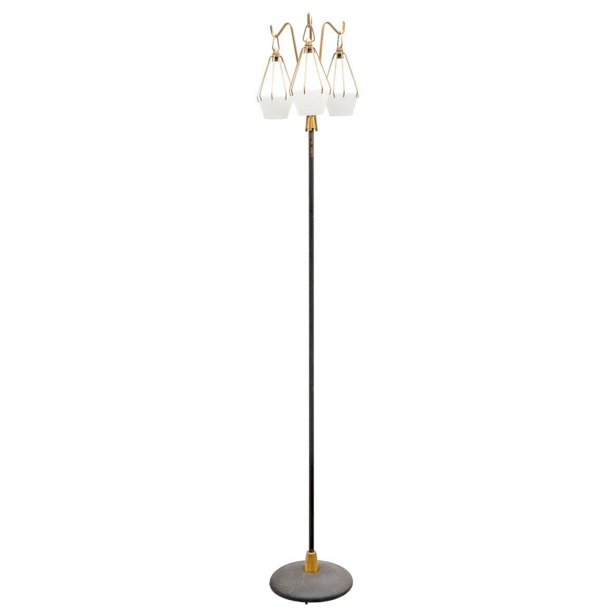 Angelo Lelii Metallic Floor Lamp with Three Glass Elements Arredoluce, 1950