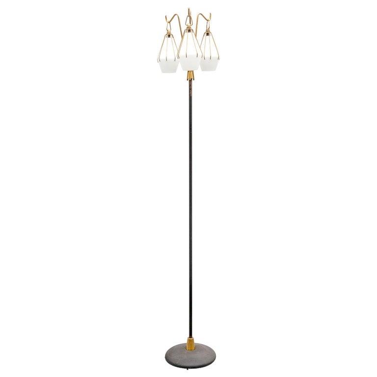 Angelo Lelii Metallic Floor Lamp with Three Glass Elements Arredoluce, 1950 For Sale