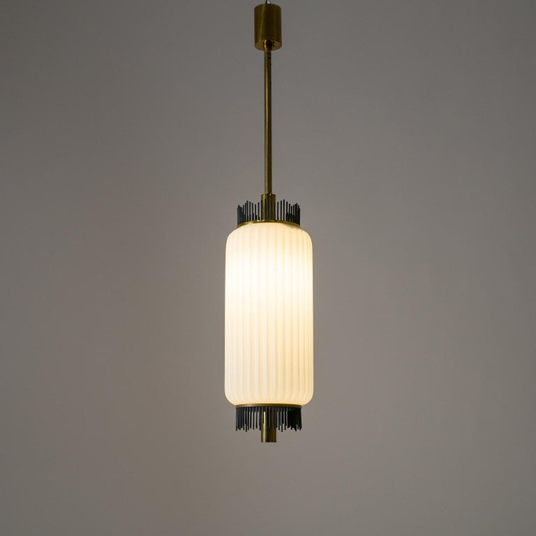 Angelo Lelii Pendant for Arredoluce, circa 1959, Brass and Ribbed Satin Glass For Sale 3