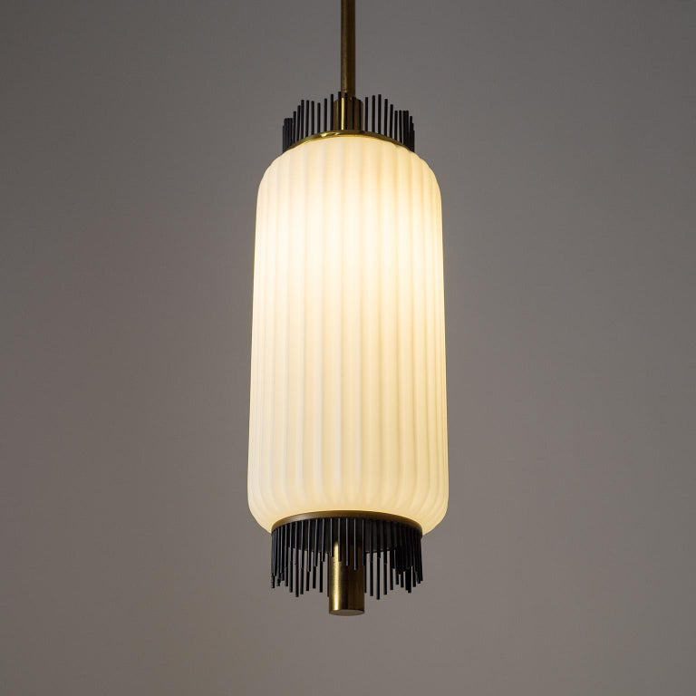 Angelo Lelii Pendant for Arredoluce, circa 1959, Brass and Ribbed Satin Glass For Sale 4