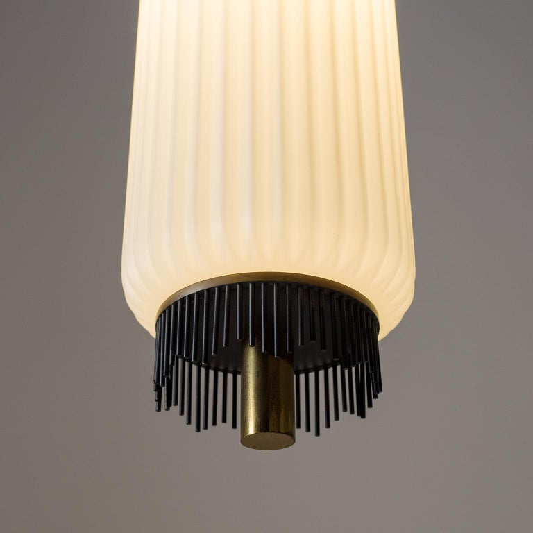 Angelo Lelii Pendant for Arredoluce, circa 1959, Brass and Ribbed Satin Glass For Sale 5