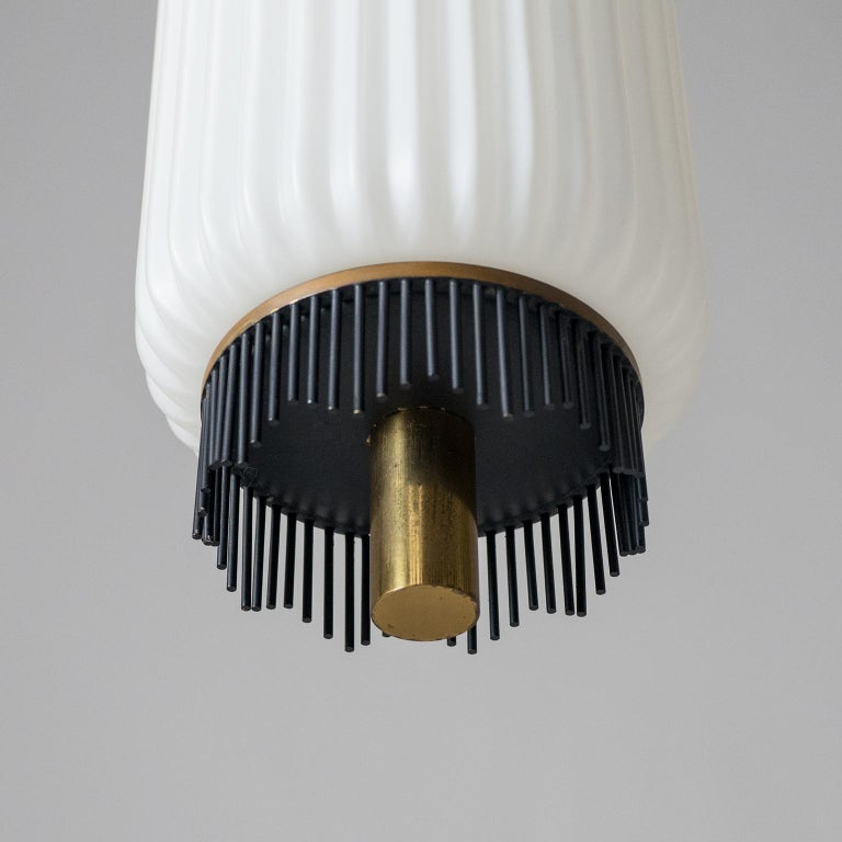Angelo Lelii Pendant for Arredoluce, circa 1959, Brass and Ribbed Satin Glass For Sale 6