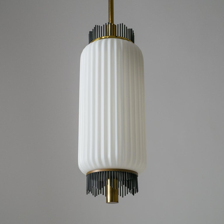 Angelo Lelii Pendant for Arredoluce, circa 1959, Brass and Ribbed Satin Glass For Sale 7