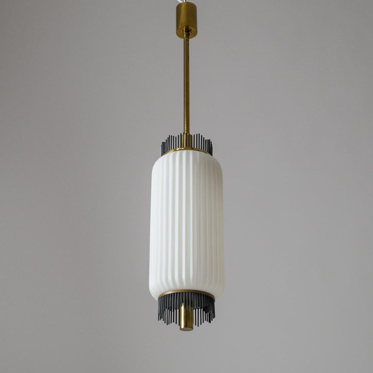 Angelo Lelii Pendant for Arredoluce, circa 1959, Brass and Ribbed Satin Glass For Sale 8