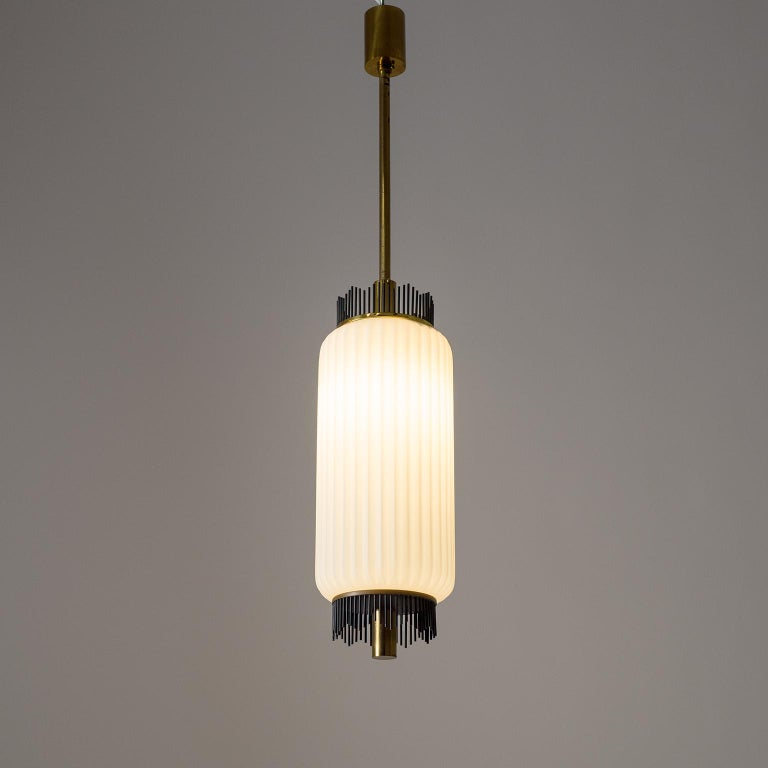 Angelo Lelii Pendant for Arredoluce, circa 1959, Brass and Ribbed Satin Glass For Sale 9