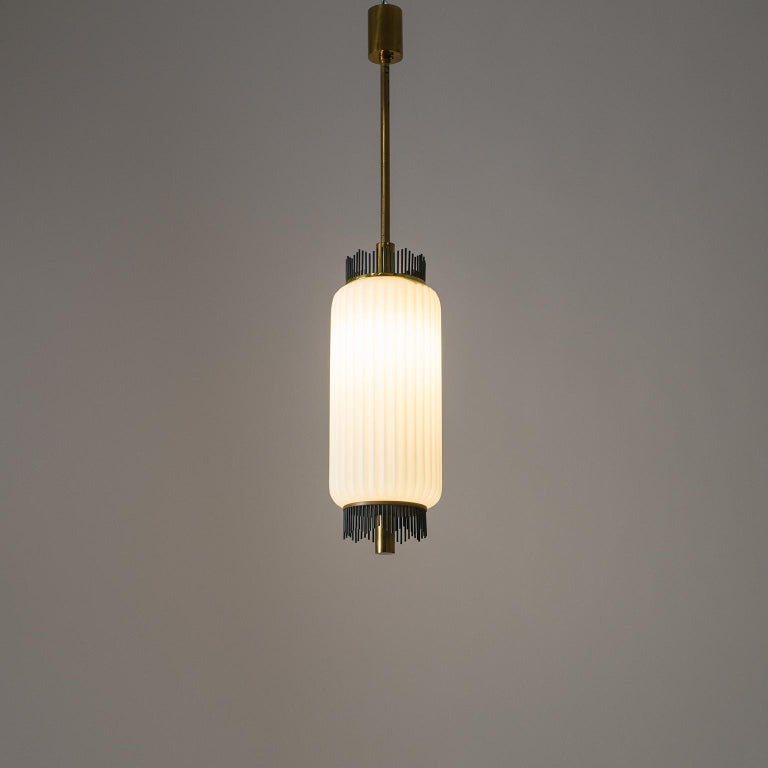 Angelo Lelii Pendant for Arredoluce, circa 1959, Brass and Ribbed Satin Glass For Sale 10