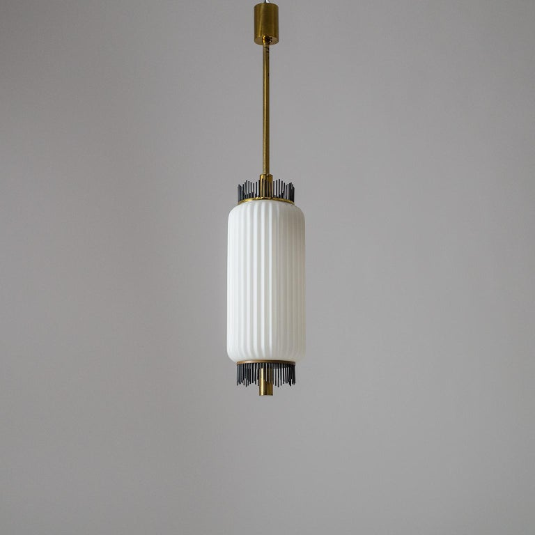 Angelo Lelii Pendant for Arredoluce, circa 1959, Brass and Ribbed Satin Glass For Sale 11