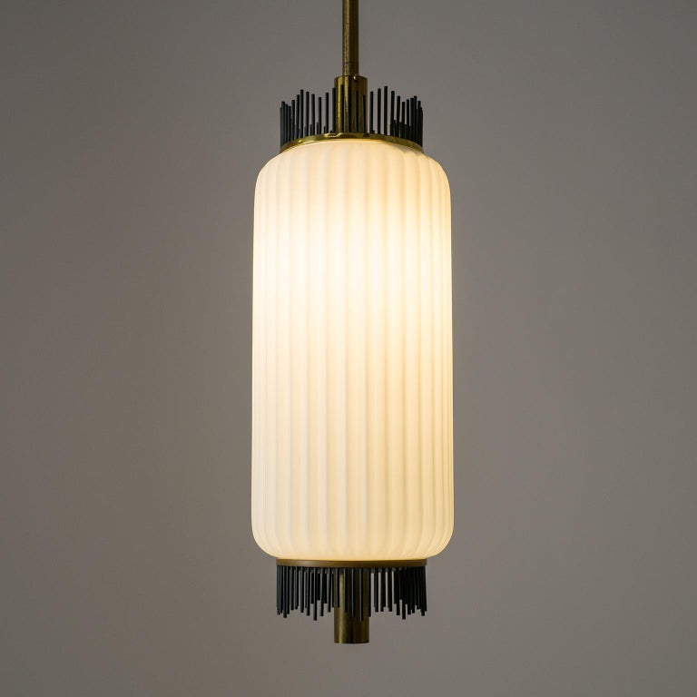 Italian Angelo Lelii Pendant for Arredoluce, circa 1959, Brass and Ribbed Satin Glass For Sale