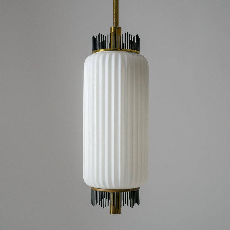 Lacquered Angelo Lelii Pendant for Arredoluce, circa 1959, Brass and Ribbed Satin Glass For Sale