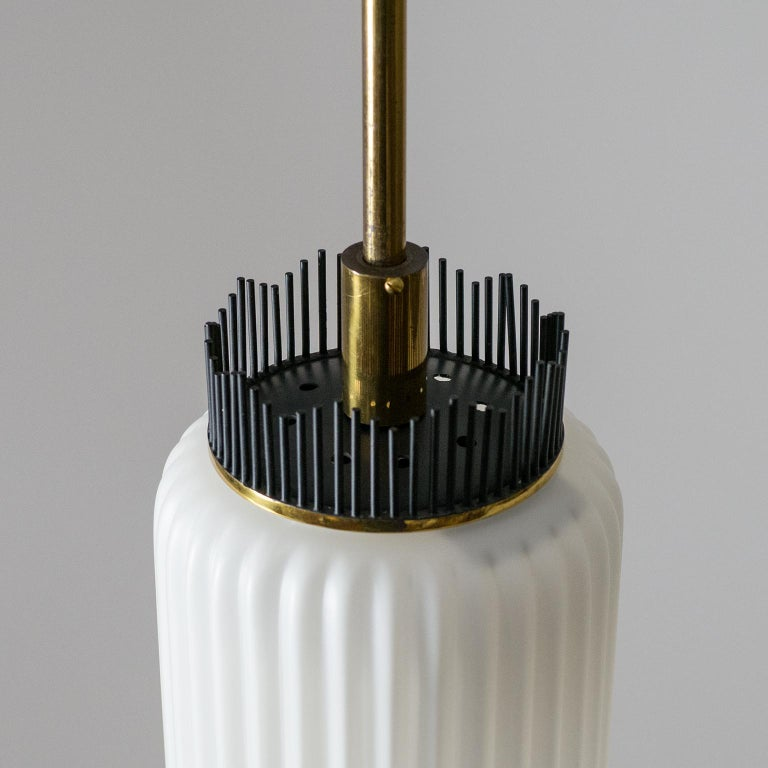 Mid-20th Century Angelo Lelii Pendant for Arredoluce, circa 1959, Brass and Ribbed Satin Glass For Sale
