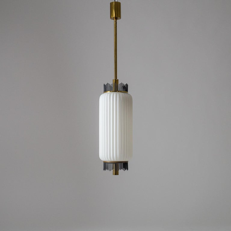 Angelo Lelii Pendant for Arredoluce, circa 1959, Brass and Ribbed Satin Glass For Sale 2