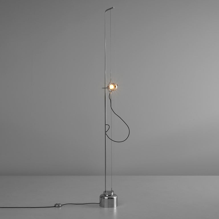 Angelo Lelli for Arredoluce, 'Filosfera' floor lamp, chromium-plated metal, metal wire, painted metal, Italy, 1970s  Angelo Lelli designed the 'Filosfera' floor lamp for Arredoluce in the 1970s. On a round chrome base is a thin chrome stem