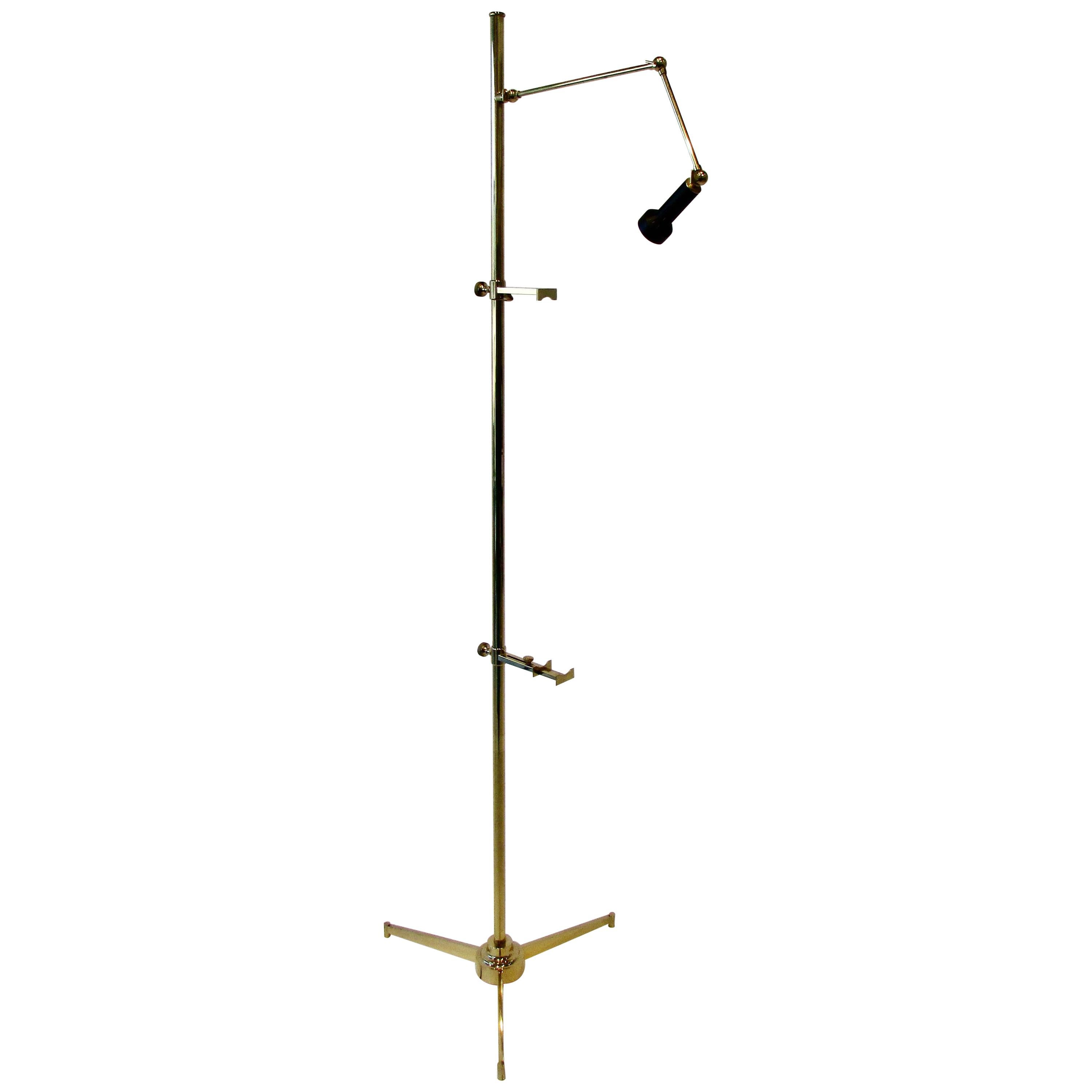Angelo Lelli for Arredoluce Italy Brass Easel Lamp with Floor Switch