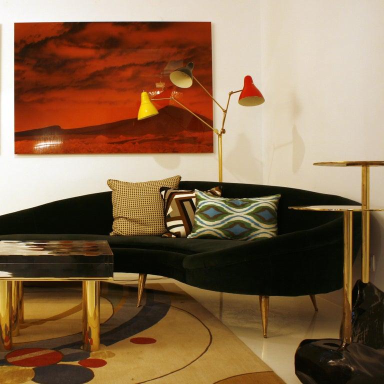 Angelo Lelli Mid-Century Modern Brass Italian Floor Lamp For Sale 1