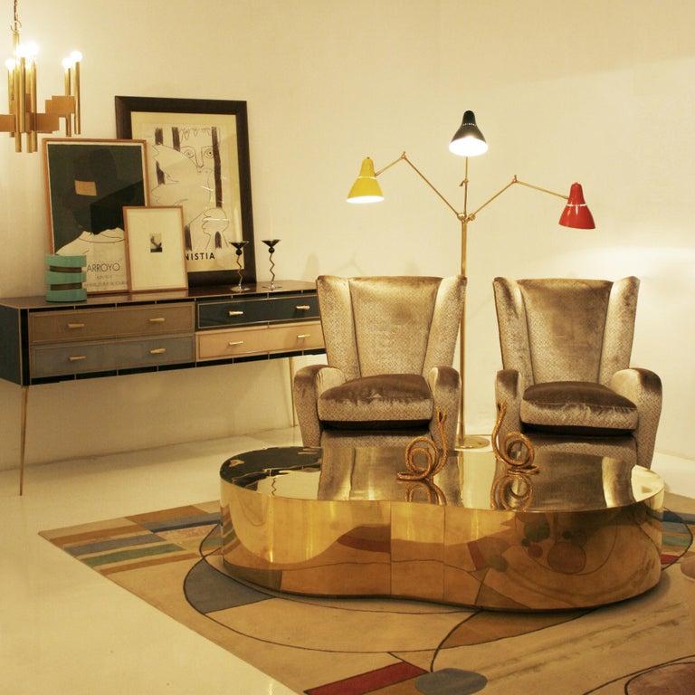Angelo Lelli Mid-Century Modern Brass Italian Floor Lamp For Sale 2